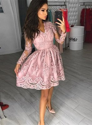 Modest Long Sleeve Lace Appliques Homecoming Dress   Short Party Gown_1
