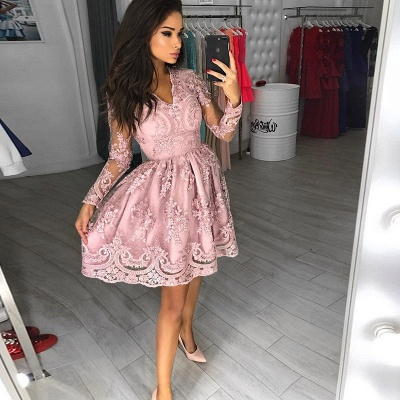 Modest Long Sleeve Lace Appliques Homecoming Dress   Short Party Gown_3