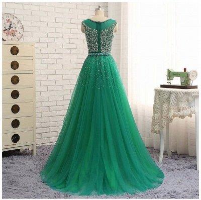 Beaded Custom Made A-line Tulle Brilliant Scoop Sleeveless Green Long Prom Dresses Cheap_3