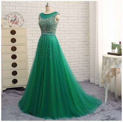 Beaded Custom Made A-line Tulle Brilliant Scoop Sleeveless Green Long Prom Dresses Cheap_4