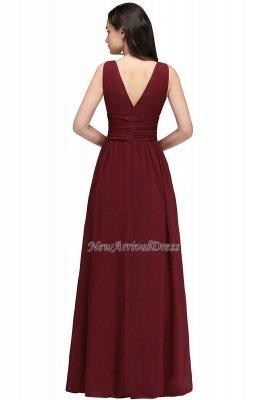 Ruched Chiffon A-line V-Neck Burgundy Evening Dresses_12