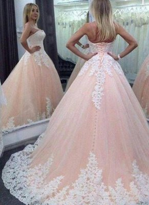 Pink Ball Gown Sweet 16 Dresses | Strapless White Appliques Quinceanera Dress