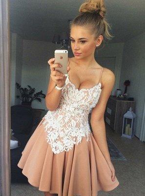 Elegant Spaghetti-Strap Homecoming Dresses  Classic Appliques Cocktail Dresses_1