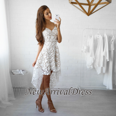 White Lace Straps Hi-Lo Spaghettis V-Neck Homecoming Dresses_1
