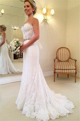 Schönes Schatz-weißes Spitze-Hochzeits-Kleid-populäres langes Kristall-Brautkleid für Frauen_1