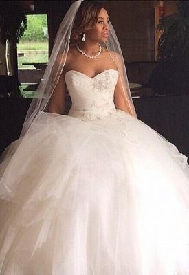 Ruffles Princess Sweetheart Tulle Ball Gown Wedding Dresses Cheap_2