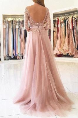 Elegant Split Half-Sleeve Lace Long Evening Dress_3