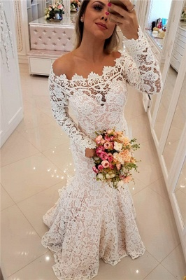 Off The Shoulder Lace Mermaid Wedding Dresses   Long Sleeve   Bridal Gowns_1