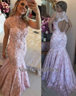 Beaded Open-Back High-Neck Cap-Sleeves Pink Lace Prom Dresses_3