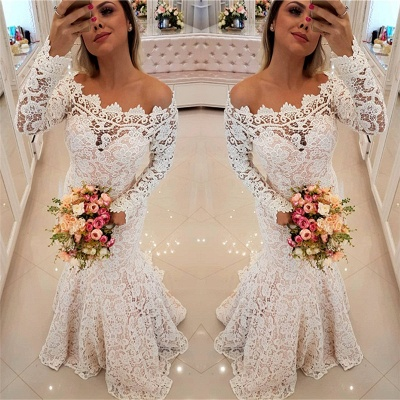 Off The Shoulder Lace Mermaid Wedding Dresses   Long Sleeve   Bridal Gowns_3