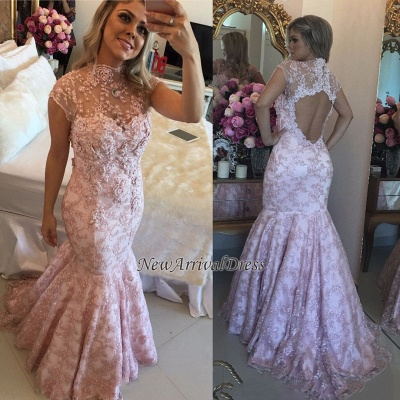 Beaded Open-Back High-Neck Cap-Sleeves Pink Lace Prom Dresses_1