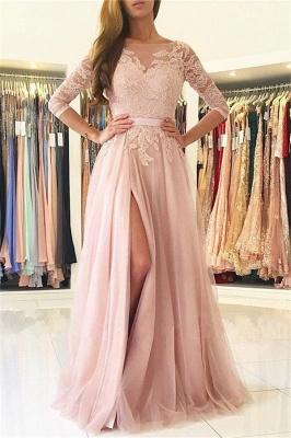 Elegant Split Half-Sleeve Lace Long Evening Dress_2