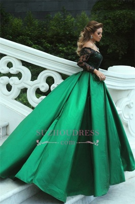 Black-Appliques Off-the-Shoulder Green Elegant Long Sleeves A-Line Prom Dress qq0364