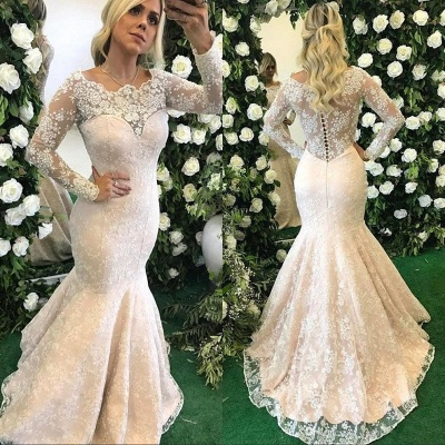 Glamorous Sexy Mermaid Evening Dresses | Lace Long Sleeves Prom Dresses with Pearls_3
