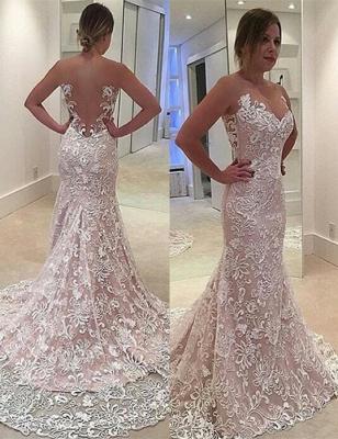 See Through Tulle Mermaid Sleeveless Court Train Custom Made Wedding Dress Cheap_2