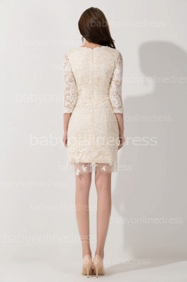 Elegant Lace 3/4 Sleeves Sheath Mother of The Bride Dress_4