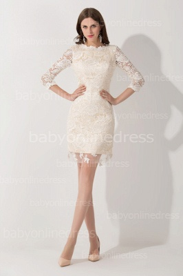 Elegant Lace 3/4 Sleeves Sheath Mother of The Bride Dress_1