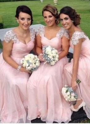 Long Capped-Sleeves Elegant Pink Chiffon Bridesmaid Dresses_2