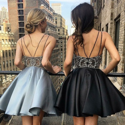 Delicate Beads Spaghetti Strap Homecoming Dress | Backless A-line Party Gown_3