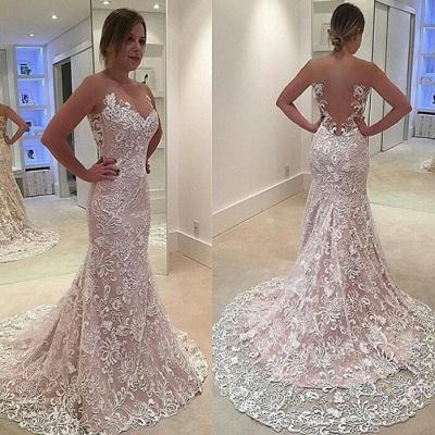 See Through Tulle Mermaid Sleeveless Court Train Custom Made Wedding Dress Cheap_3