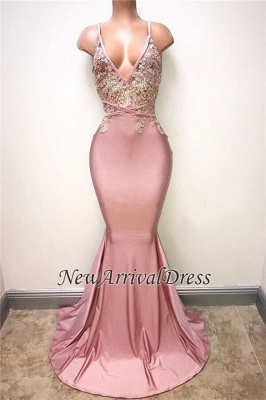 Sexy Lace-Appliques Sleeveless Mermaid Spaghettis-Strap Evening Gowns_1