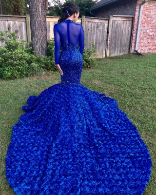 Sexy Flowers Royal Blue Prom Dress   Long Sleeve Prom Dress_4