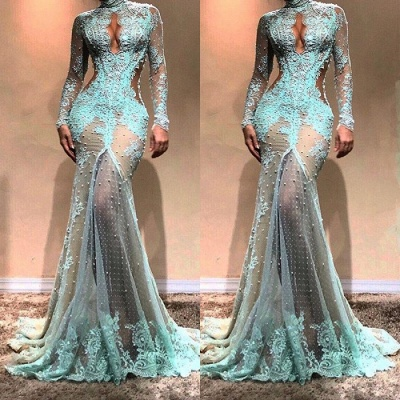 Sexy Lace Pearls Long Sleeve Evening Dress | Keyhole Evening Gown_4