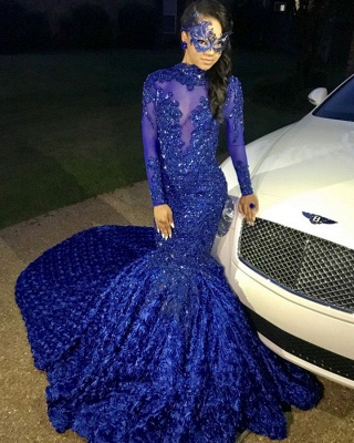 Sexy Flowers Royal Blue Prom Dress   Long Sleeve Prom Dress_2