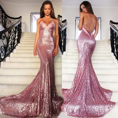 Sexy Pink Sequined Mermaid Sleeveless Spaghetti Strap Prom Dress_3