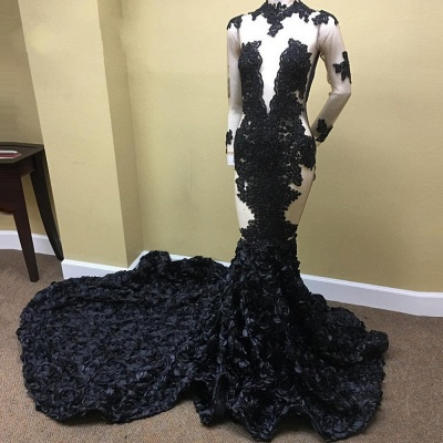 Sheer Tulle Black Long Prom Dresses Cheap | Long Sleeve Evening Dress with Floral Train_3