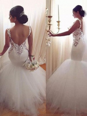 Lace Appliques V-Neck Sexy Mermaid Wedding Dresses Cheap Online Sleeveless Tulle Bridal Gowns_3
