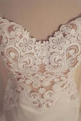 Lace Appliques V-Neck Sexy Mermaid Wedding Dresses Cheap Online Sleeveless Tulle Bridal Gowns_4
