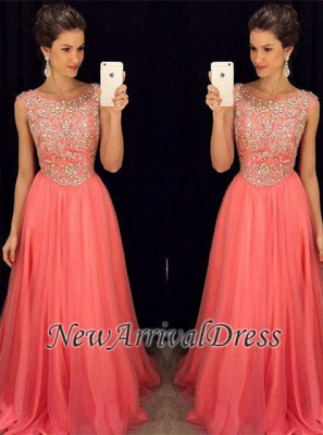 Crystal Tulle Sleeveless A-Line Scoop Popular Prom Dress AP0_3