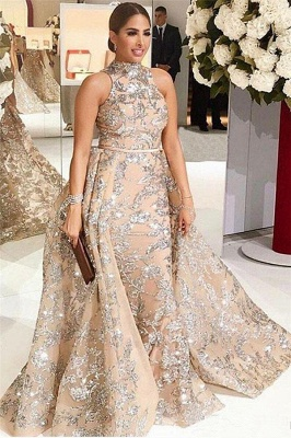 Silver Beads Appliques Overskirt Prom Dresses Long | Sleeveless Champagne Cheap Formal Dress_1