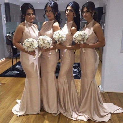 High Neck Satin Mermaid Bridesmaid Dresses Long Halter Neck Maid of Honor Dresses_2