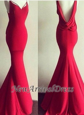 Backless Mermaid Long Red Sweetheart-Neck Sexy Backless Evening Gowns BA4419_3