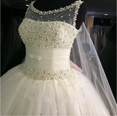 Pearls Beadings Princess Tulle Sleeveless Gorgeous Wedding Dress Cheap_3