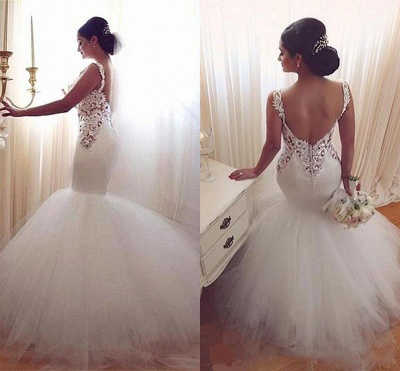 Lace Appliques V-Neck Sexy Mermaid Wedding Dresses Cheap Online Sleeveless Tulle Bridal Gowns_5