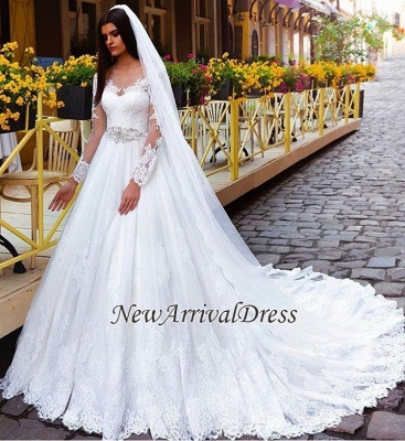 New Arrival Lace Princess Crystal Long Sleeve Elegant Wedding Dresses_1