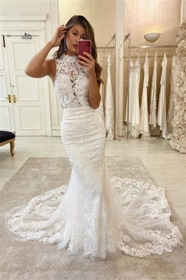 Lace Halter Appliques Mermaid Wedding Dresses | Glamorous Sleeveless Bridal Dresses Online_2