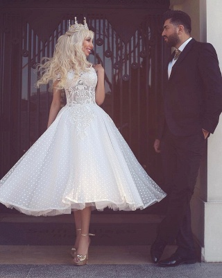 Off The Shoulder Wedding Dresses Short | Lace Appliques Tea Length Bridal Gowns Cheap_2