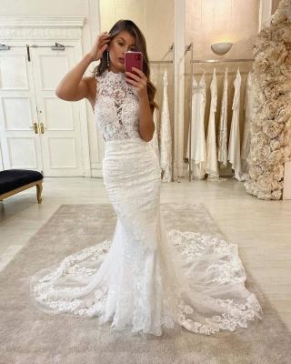 Lace Halter Appliques Mermaid Wedding Dresses | Glamorous Sleeveless Bridal Dresses Online_1