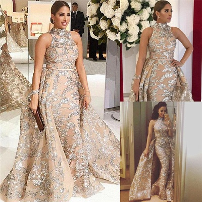 Silver Beads Appliques Overskirt Prom Dresses Long | Sleeveless Champagne Cheap Formal Dress_3