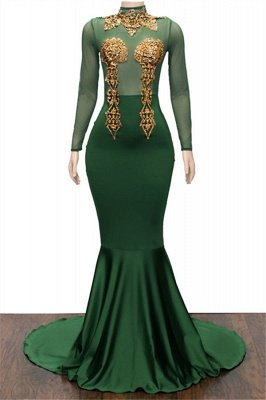 Gold Appliques Green Prom Dresses Cheap | Mermaid Long Sleeve Formal Evening Dresses