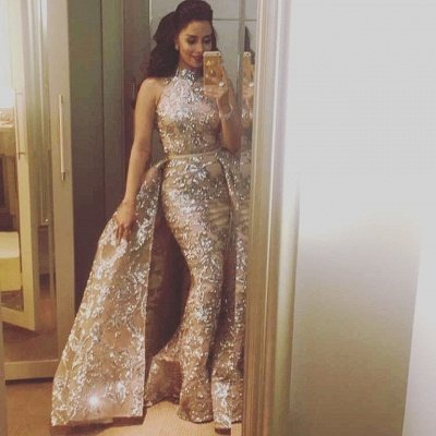 Silver Beads Appliques Overskirt Prom Dresses Long | Sleeveless Champagne Cheap Formal Dress_4