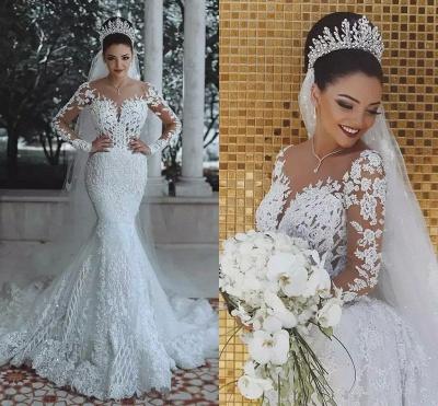 Glamorous Long Sleeve Lace Wedding Dress 2019 Mermaid Bridal Gowns