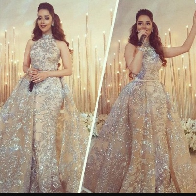 Silver Beads Appliques Overskirt Prom Dresses Long | Sleeveless Champagne Cheap Formal Dress_5