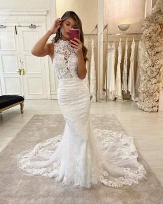 Lace Halter Appliques Mermaid Wedding Dresses | Glamorous Sleeveless Bridal Dresses Online