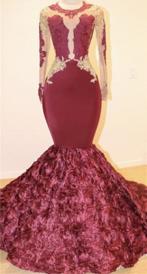 Open Back Gold Lace Burgundy Long Prom Dresses Cheap Plus Size | Mermaid Long Sleeve Formal Dresses for Juniors_1
