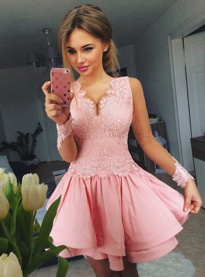 Long Sleeves Homecoming Dresses  Classic V-Neck Cocktail Dresses_1